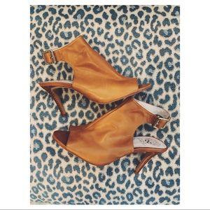Vince Camuto Brown Leather Peep Toe Heels (worn2x)